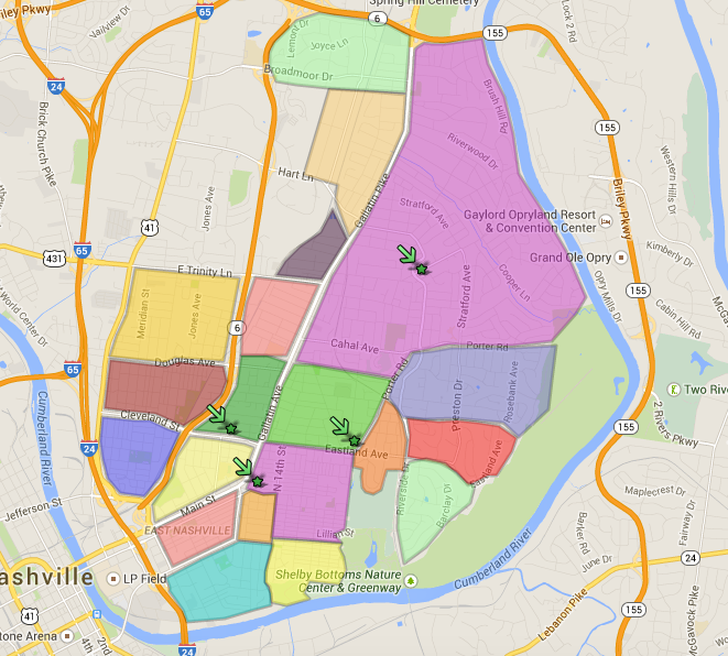 Nashville Neighborhoods Map East Nashville Neighborhood Map   Nesting In Nashville Real Estate  Nashville Neighborhoods Map